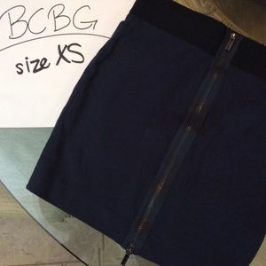 BCBGMAXAZRIA Navy Blue Zip Back Mini Skirt Size XS